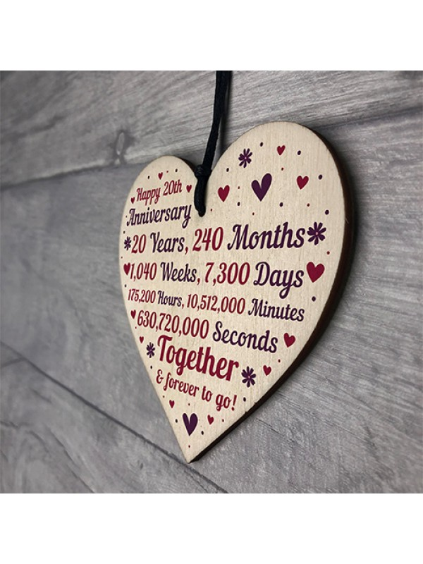Anniversary Wooden Heart To Celebrate 20th Wedding Anniversary