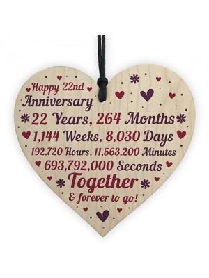 Anniversary Wooden Heart To Celebrate 22nd Wedding Anniversary