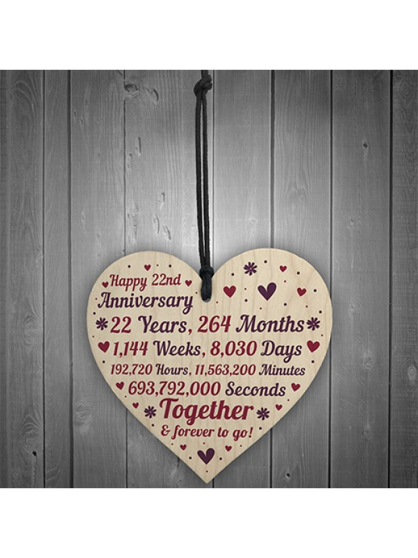 Anniversary Wooden Heart To Celebrate 22nd Wedding Anniversary