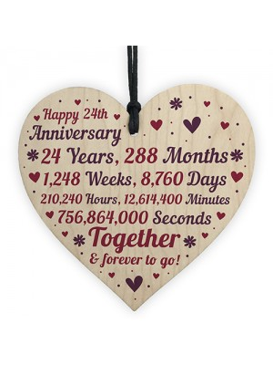 Anniversary Wooden Heart To Celebrate 24th Wedding Anniversary