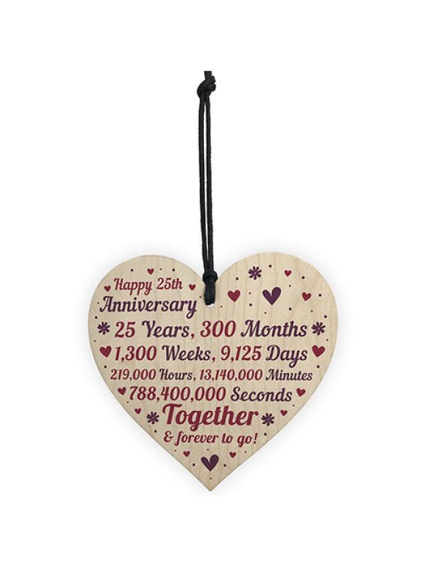 Anniversary Wooden Heart To Celebrate 25th Wedding Anniversary