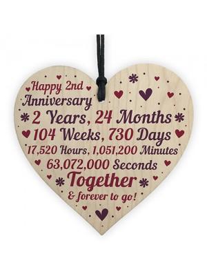 Anniversary Wooden Heart To Celebrate 2nd Wedding Anniversary