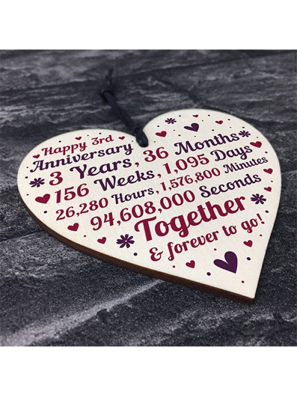 Anniversary Wooden Heart To Celebrate 3rd Wedding Anniversary