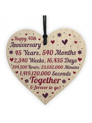 Anniversary Wooden Heart To Celebrate 45th Wedding Anniversary