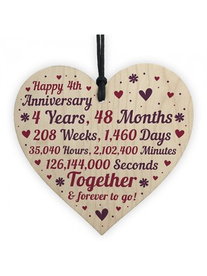 Anniversary Wooden Heart To Celebrate 4th Wedding Anniversary