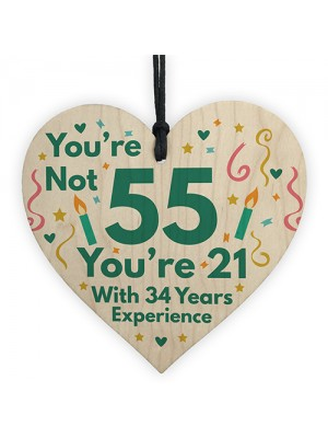 Funny Birthday Gifts Novelty 55th Birthday Gift Wood Heart Card
