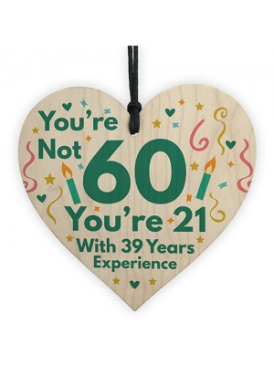Funny Birthday Gifts Novelty 60th Birthday Gift Wood Heart Card