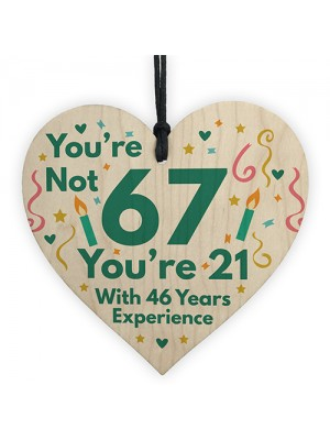 Funny Birthday Gifts Novelty 67th Birthday Gift Wood Heart Card