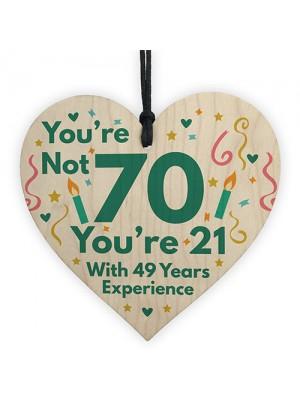 Funny Birthday Gift Novelty 70th Birthday Gift Wood Heart Funny