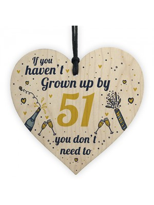 Funny Happy Birthday 51 Wood Heart Man Wife Grandma Grandad