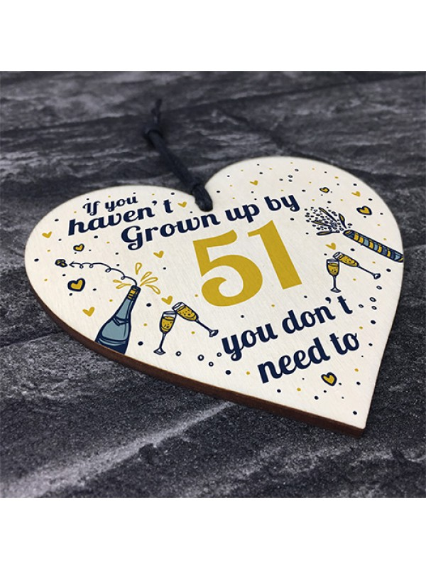 Funny Happy Birthday 51 Wood Heart Man Wife Grandma Grandad
