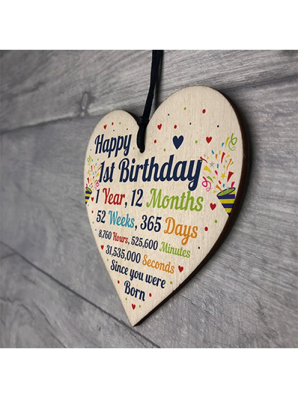 1st Birthday Gifts 1st Birthday Wood Heart Gift For Baby Child