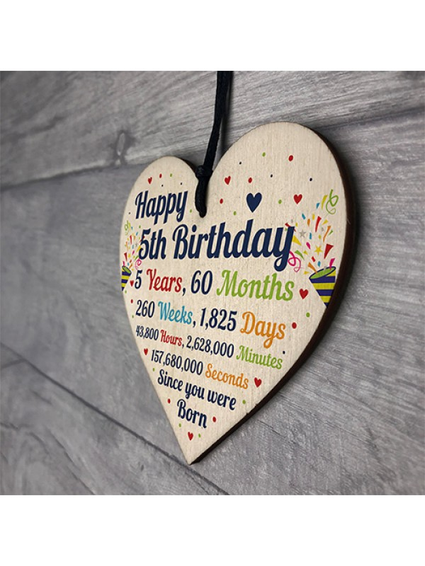 5th Birthday Gift For Boys Heart 5th Birthday Gift For Girls