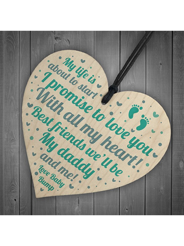 Dad Birthday Christmas Gift Wood Heart Daddy To Be From Bump