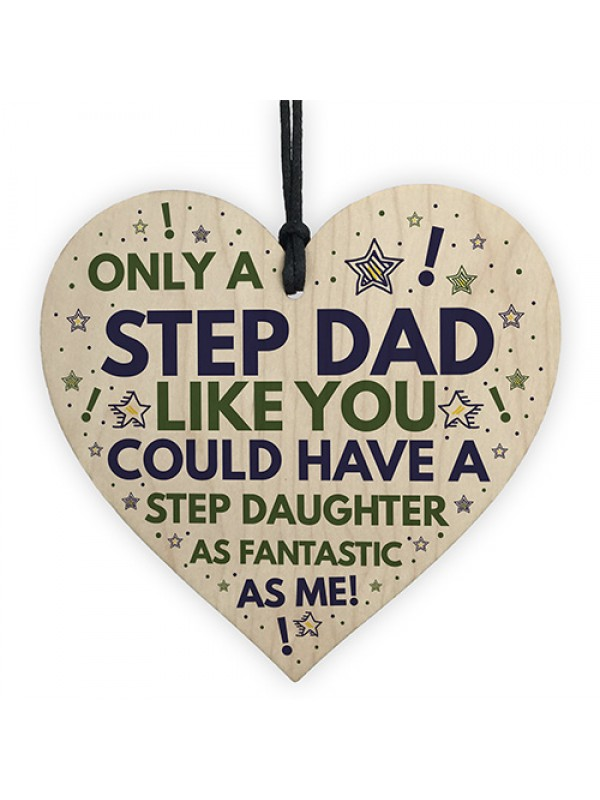 Step DAD Birthday Gifts Funny Wood Heart Gift From Daughter