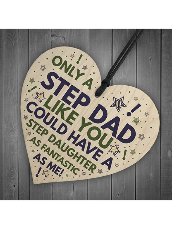 Step DAD Birthday Gifts Funny Wood Heart Gift From Step Daughter