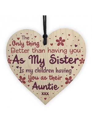Cute Auntie Heart Plaque Wooden Auntie Birthday Christmas Gifts