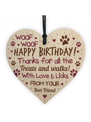 Funny Mum Dad Birthday Gift From Dog Wood Heart Gift From Dog