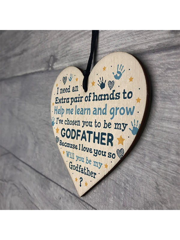 Godfather Godparent Asking Gifts Wooden Heart Baby Shower Gifts