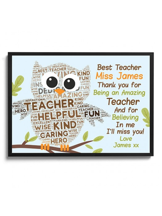 Personalised Teacher Gift Word Art Framed Owl Print Thank You