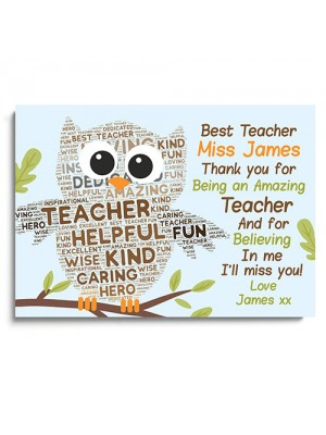 Personalised Teacher And Assistant Gift Word Art Print Thank You