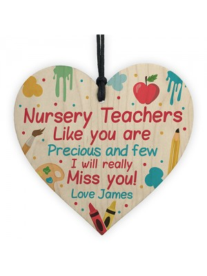 Personalised Nursery Teacher Gifts Wood Heart Thank you Leaving