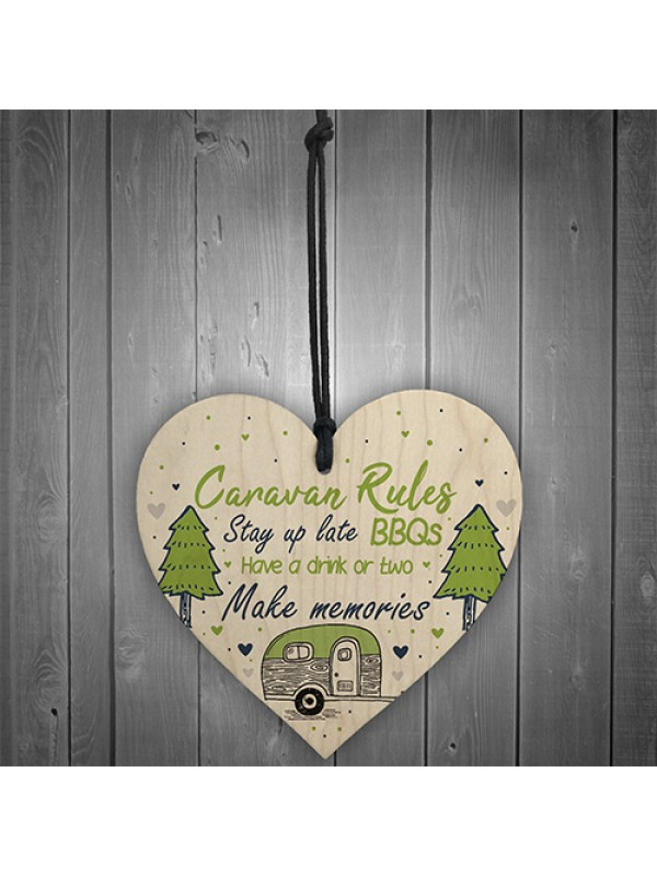 Caravan Rules Novelty Hanging Wooden Heart Caravan Sign Friend