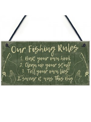 Funny Fishing Gift Fishing Rules Sign Garden Shed Man Cave Sign