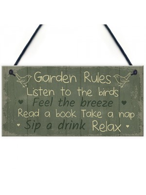Garden Rules Sign Hanging Plaque Shed Sign Summer House Plaque