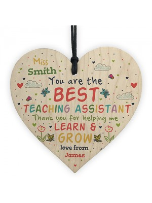 Personalised Teaching Assistant Gift Handmade Wood Heart TA Gift