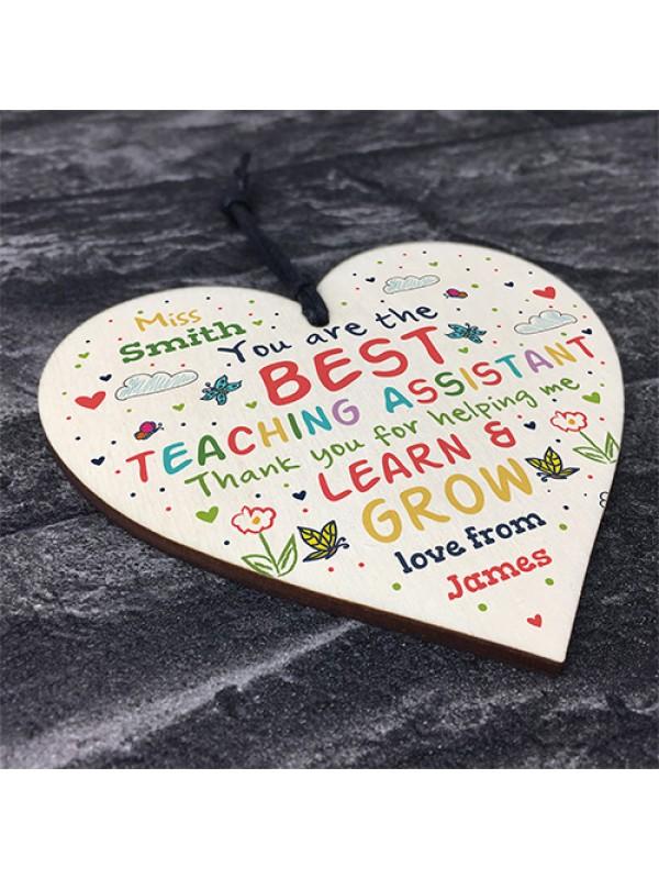Personalised Teaching Assistant Gift Handmade Wood Heart TA Gift