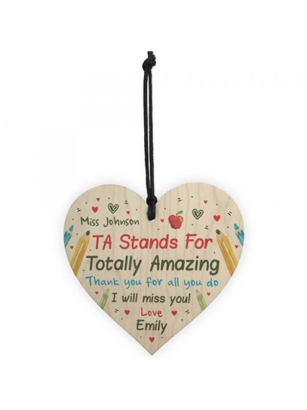 Personalised TA Assistant Gift Wood Heart Thank you Leaving Gift