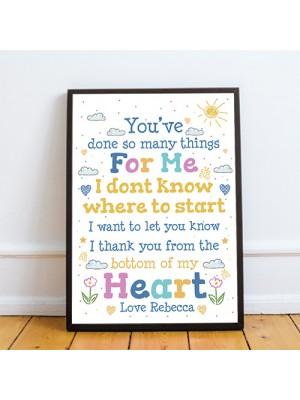 Special Thank ou Gift Framed Poem Print Teacher Mentor Volunteer
