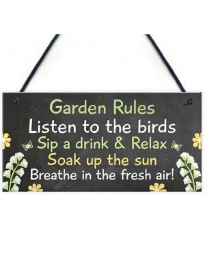 Novelty Garden Rules Hanging Plaque SummerHouse Sign Garden Shed