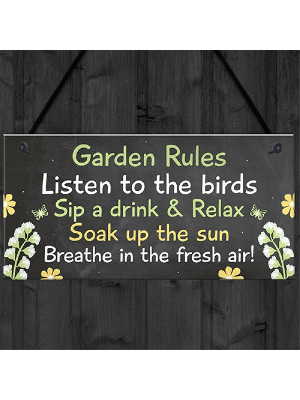 Novelty Garden Rules Hanging Plaque SummerHouse Sign Garden Shed