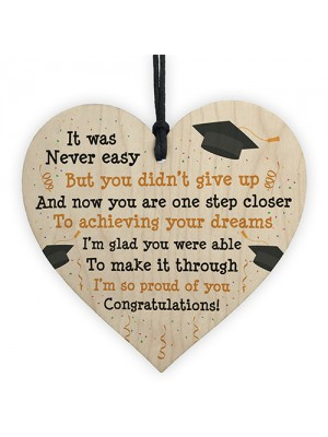Graduation Gifts Congratulations Wooden Heart Leaving Plaque