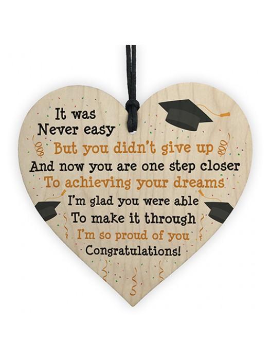 Graduation Gifts Congratulations Wooden Heart Leaving Plaque