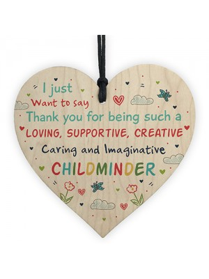 Thank You Gift For Childminder Babysitter Wooden Heart Leaving
