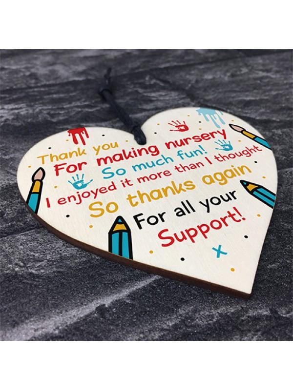 Nursery Teacher Thank You Gifts Wooden Heart Leaving Present