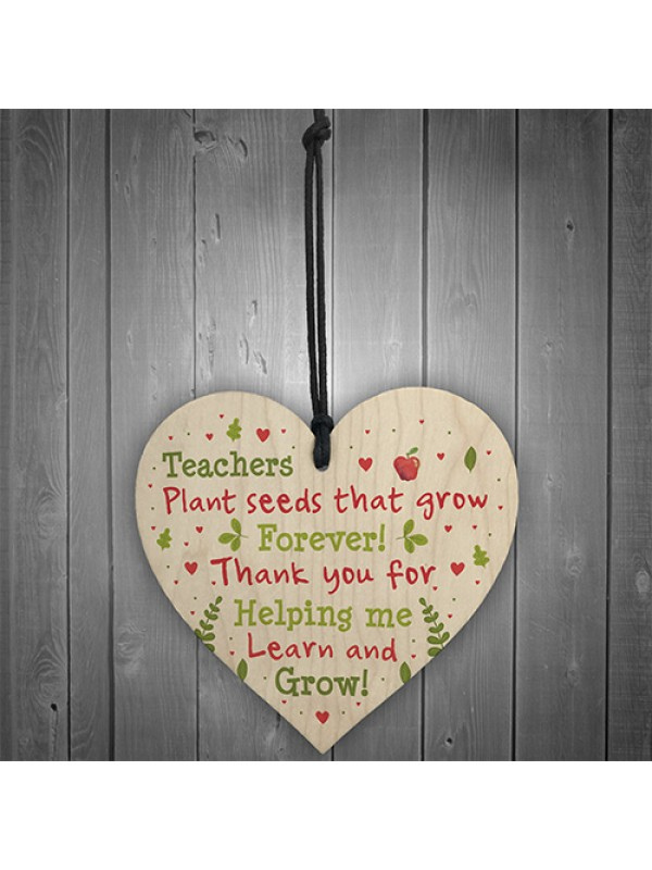 Thank You Teacher Gift Wooden Heart Leaving School Nursery Gift