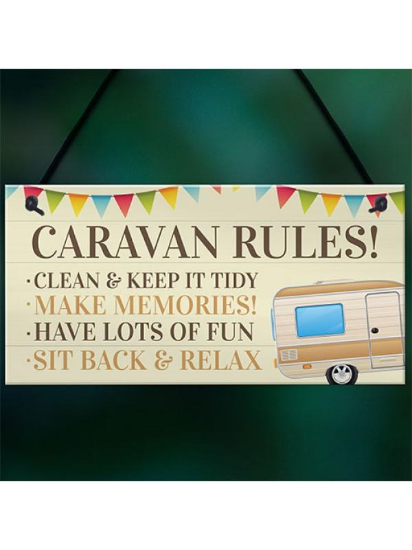 Novelty Caravan Rules Hanging Plaque Garden Sign Campervan Gift