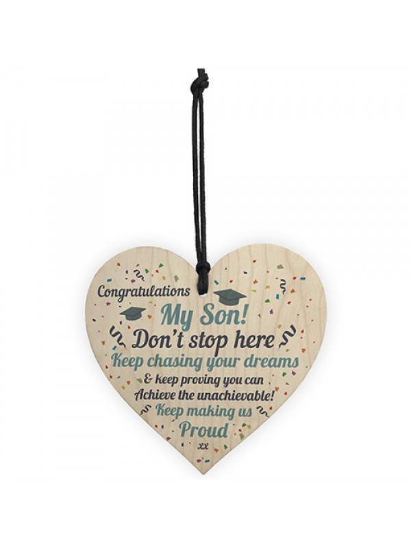 Graduation Gifts For Son Wooden Heart Plaque Congratulations