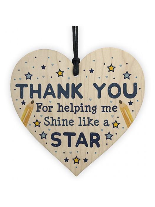 Thank You Wood Heart Gift For Teacher Assistant Nursery Teacher