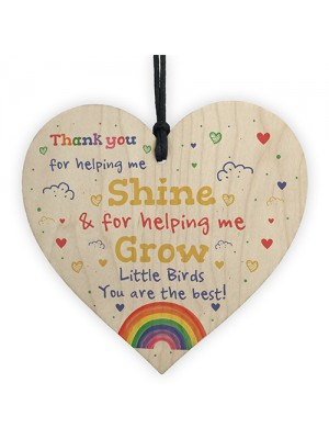 Thankyou Gift For School Nursery Wood Heart Teacher Leaving Gift