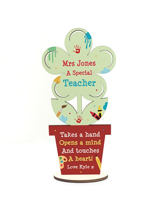 Personalised Best Teacher Gift Thank You Wooden Flower Leaving