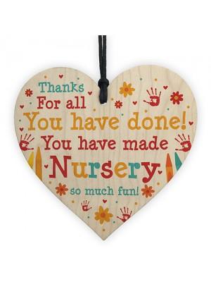 Leaving Nursery Gift Wooden Heart Thank You Nursery Teacher Gift