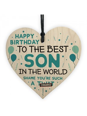 Funny Happy Birthday Gift For Son Wood Heart Son Birthday Card