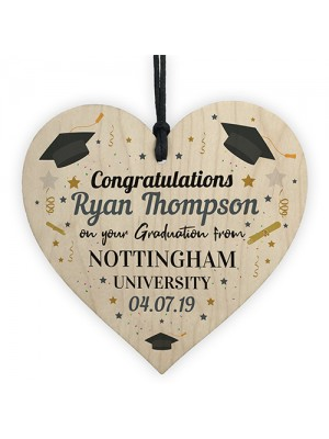 PERSONALISED Graduation Graduate Gift Wood Heart Leaving Gift