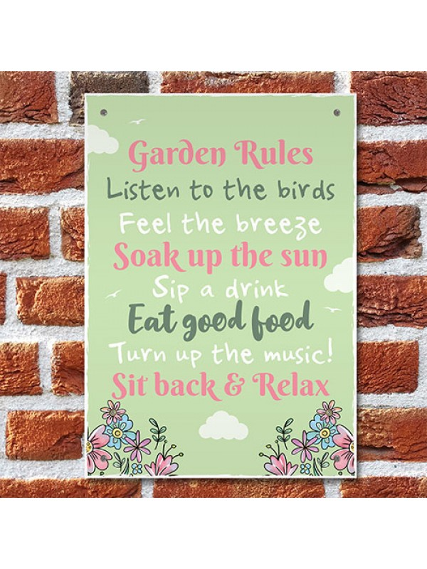Funny Garden Rules Wall Plaque For Garden Shed Summer House