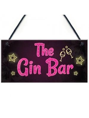 Novelty Gin Bar Sign Neon Effect Home Bar Man Cave Kitchen Sign